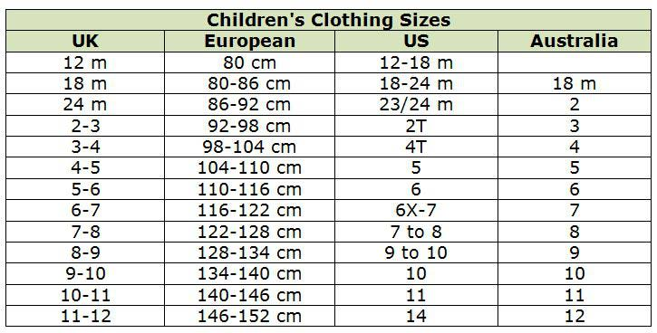 International shoe size conversion chart