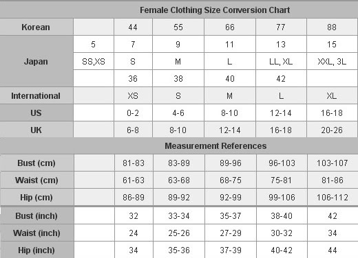 Womens clothing size chart converter